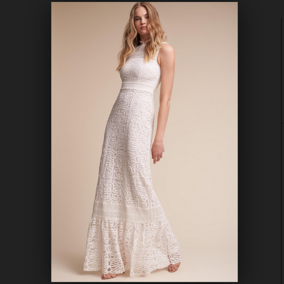 Anthropologie Dresses | Nwot Bhldn White Lace Ojai Wedding Gown ...